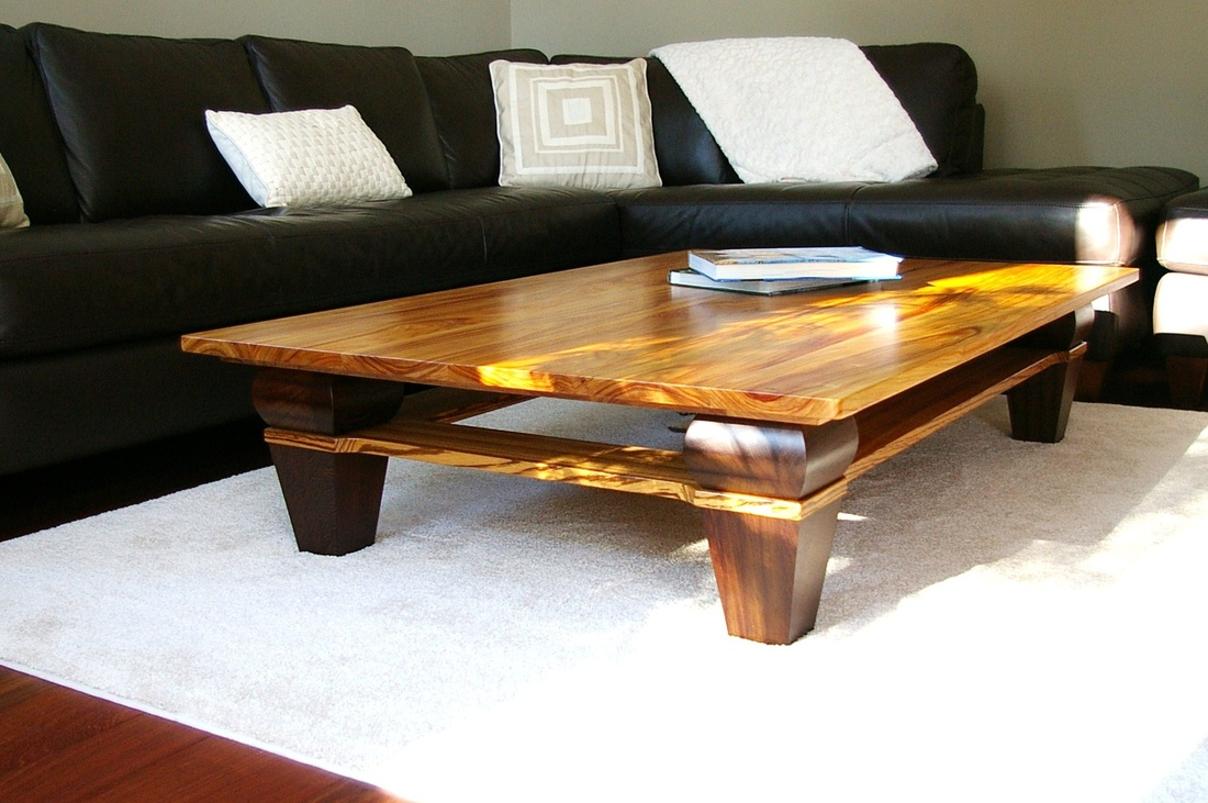 Canary Wood, Wenge And Zebra Wood Coffee Table